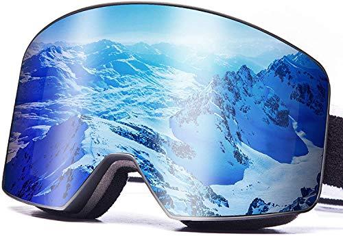 Randlose Skibrille mit UV400, Zweilagige Zylindrische OTG Design,das Beschlagen der Brille Verhindern einen Windschutzscheibeneffekt,Geeignet für Skifahren Motorrad Fahrrad Skaten für Männer Frauen.