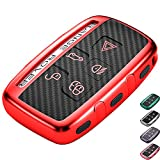 Lcyam Tpu Key Fob Case Cover Carbon Fiber Pattern Fits for 5 Button Land Rover LR2 LR3 LR4 Range Rover Sport Evoq Discovery Jaguar XF XJ XE F-PACE F-Type Remote Key (Red)