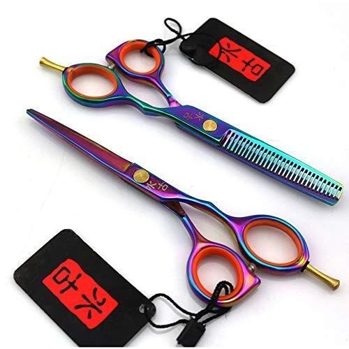 LIUCHUNYANSH Tijeras para Mascotas 5,5 Pulgadas Tijeras de peluquería Colorido Dientes Colorido Tijeras de Peluquero Profesional Plano Chapas Adelgazamiento por Corte del Peluquero Conjunto