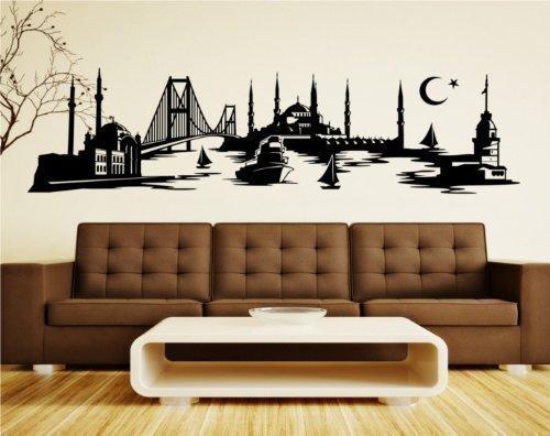myDruck-Store Wandtattoo Istanbul Skyline Türkei, Wandsticker Türkiye Aufkleber Stadt 1M062_1, Farbe:Dunkelgrau Matt;Größe (Länge):200 cm