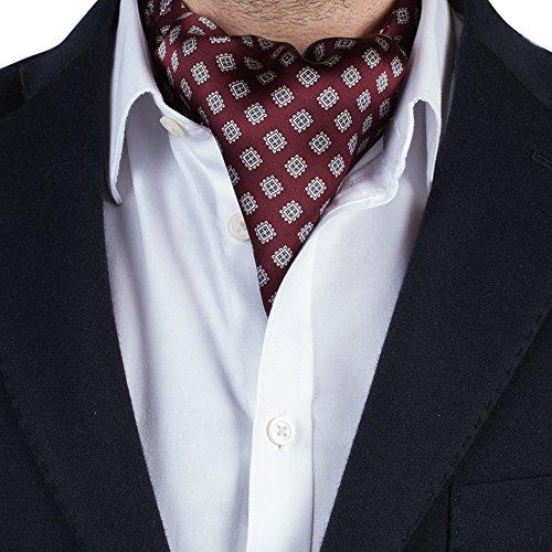 Cravate de Luxe Ascot pour Homme en Soie / Echarpe – Motif à Cachemire / Jacquard (Maroon Jacquard)