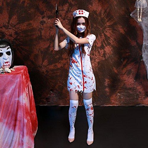 HGQ Halloween Cosplay Ropa Horror Enfermera Disfraz Mascarada Fiesta de Halloween, M, Cofre: 80-88cm, Cintura: 70-78cm, Longitud Total: 82cm, Altura Recomendada: 158-165cm