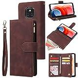 LBYZCASE Phone Case for Moto G Play 2021,Motorola G Play 2021 Wallet Case,Folio Flip Leather Cover[Zipper Pocket][Wrist Strap][Kickstand ] for Motorola Moto G Play 2021 (Coffee)