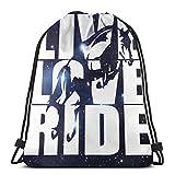 orangefruit Femmes Hommes Ados Live Love Ride Horse1 Sacs à Cordon Sac de Sport pour l'école randonnée Yoga Gym Natation Voyage Plage 36x43 cm