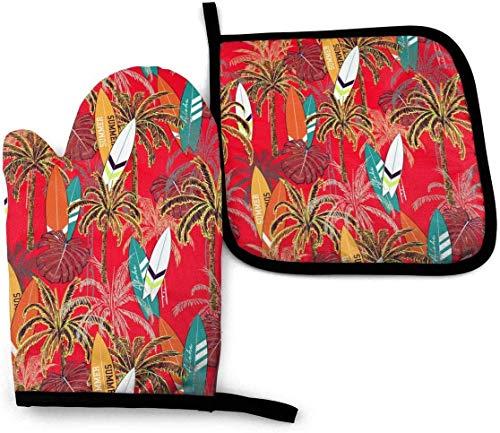 GOSMAO Juegos de Manoplas y Porta ollas para Horno, patrón de Acuarela Hawaiano, Hojas de Islas y Tablas de Surf, Juego de Cocina Resistente al Calor