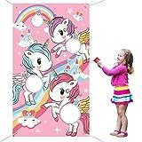 Miotlsy Juego de lanzamiento de unicornio con bolsa de frijoles de nylon de 3 piezas para niños Decoraciones y proveedores de tema de unicornio para adultos