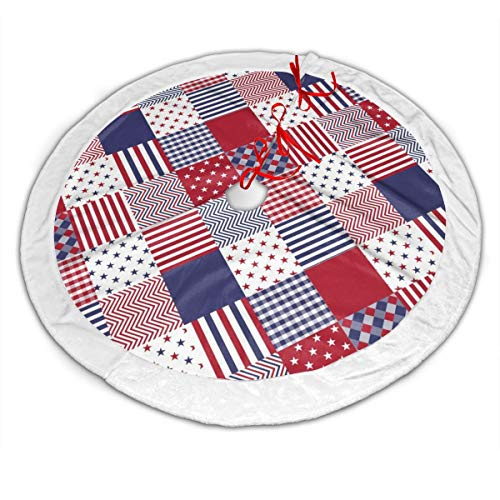 GOWINEU Xmas Tree Skirt, Themed With Usa Americana Diagonal Red White Blue Quilt, Rustic Xmas Holiday Decoration, 48 in Diameter, Attractive,with White Edge