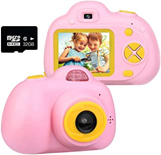 YXIN 2.0 inch Kids Digtal Camera,Mini 1080P HD Video Cartoon Toy Camera with 32GB Memory Card Birthday Toy Gifts for 3-10 ...