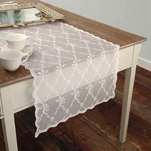 AT17 Chemin de Table Brodè en Dentelle de Polyester Shabby Chic et Romantique - Broderie - 50x150 - Blanc - 100% Polyester
