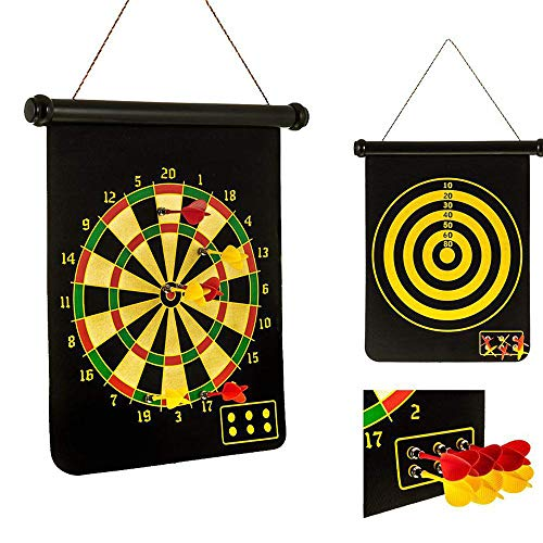 LYY 15-Zoll-Magnet Dartscheibe Set doppelseitige Beflockung Dart Ziel mit 6 Sicherheits Dart, Can Be Hung Up und Rolled für Kid Adult Indoor Entertainment Sport Spiel