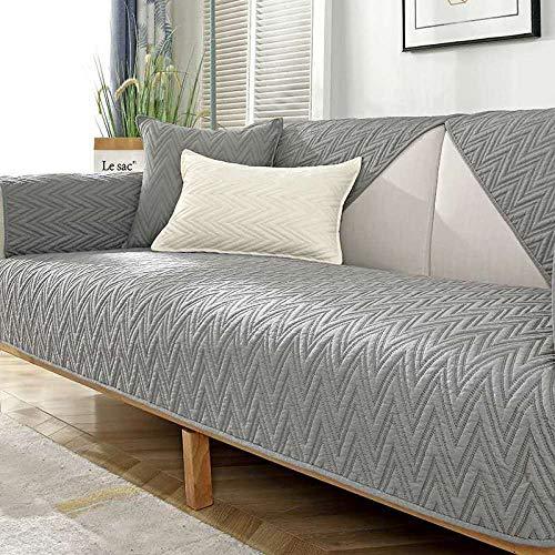 YUTJK Fashion Mehrzweck Sofabezug Sofaüberwurf aus Baumwolle, Couch Überzug, Bettüberwurf Tagesdecke Sofa Überzug, Schnittmuster Baumwoll Sofa Pad, für Winter, Grau 1