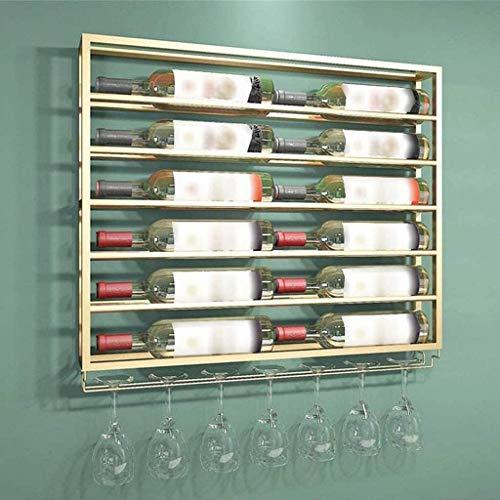 GLYYR Weinregal Weinregal Gold Wandmontierter Metall Weinflasche Regal Wine Champagner Glas Becher Stemware Rack Halter