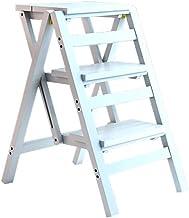 Familie opstapkrukje, Solid Wood 3 Stap Ladder Stoel Multifunctionele Houten Ladder Stoel Opvouwbare Rekken Ladder (Color...