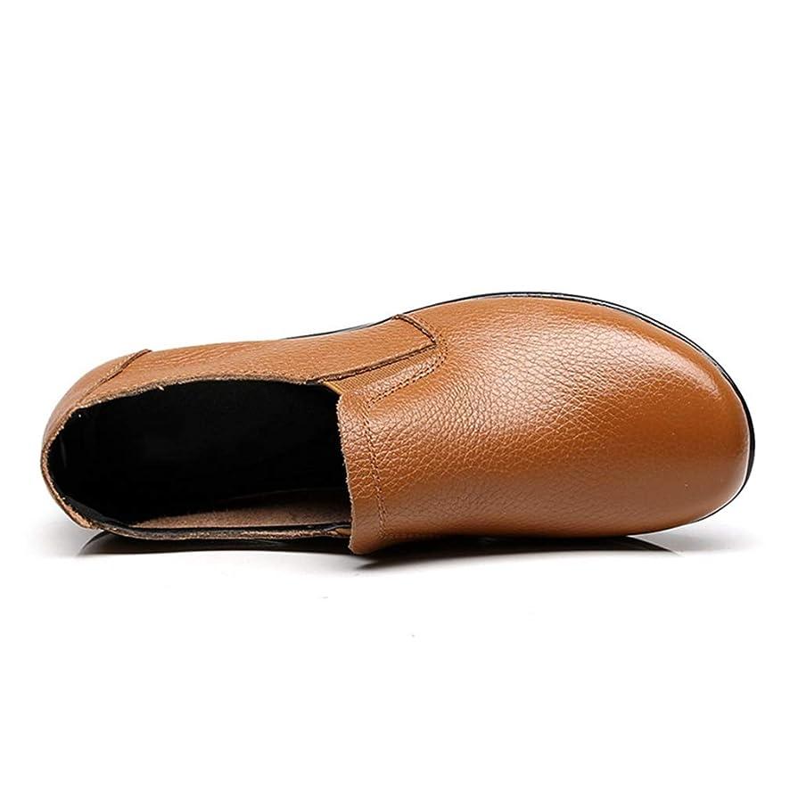 砂デッドロック無心[イノヤ]柔らかい お年寄りシューズ ローファー 防滑 ダンピング ゴム モカシンシューズ フラット 牛革 ラウンドトゥ 大きいサイズ 屈曲性 通気性 コンフォート スリッポン 作業靴 レディース 婦人靴 ブラック ブラウン ワインレッド イエロー