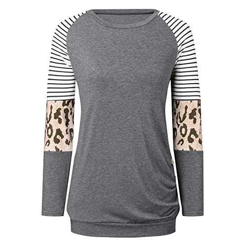 Damen Langarm T-Shirt Rundhals Leopard Color Block Bluse T Shirt Frühling, Herbst...