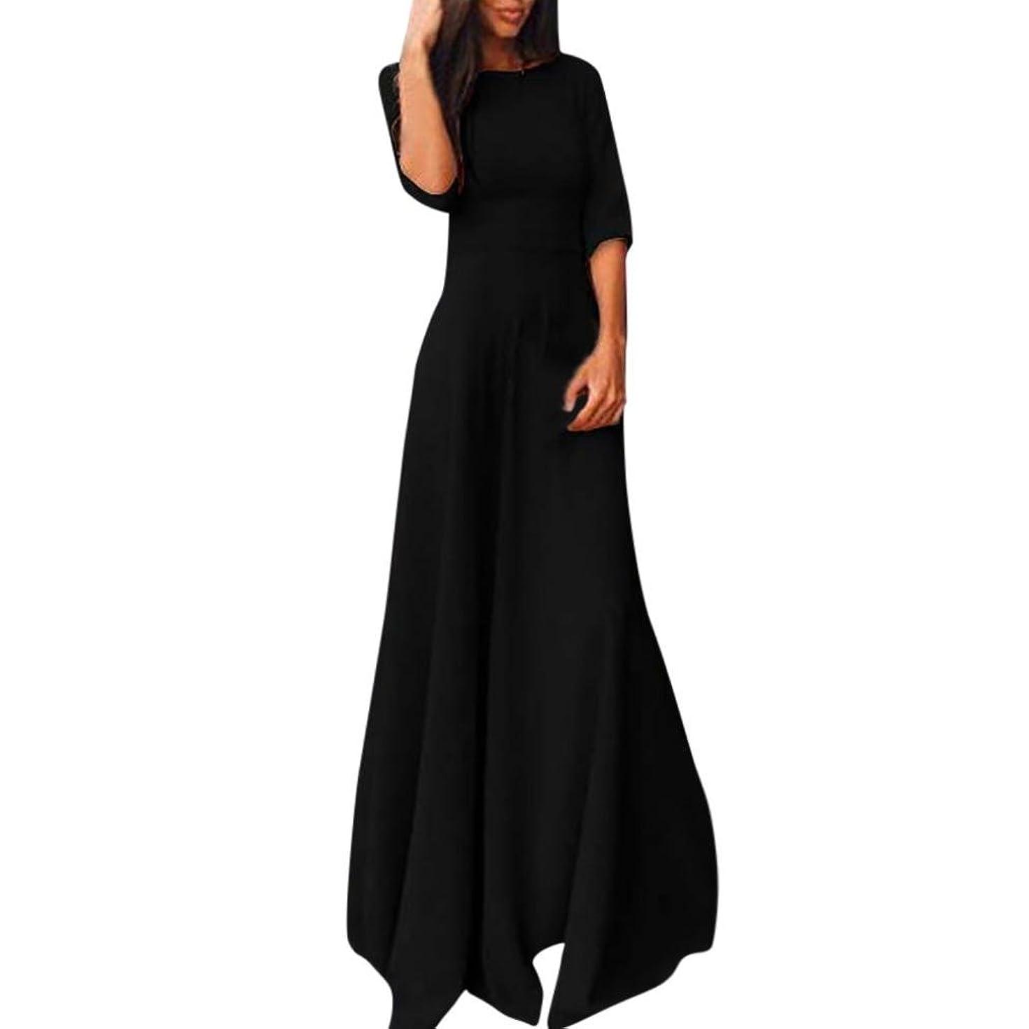 Goddessvan Womens Chiffon 3/4 Sleeve Evening Formal Party Prom Ball Gown Long Maxi Dress