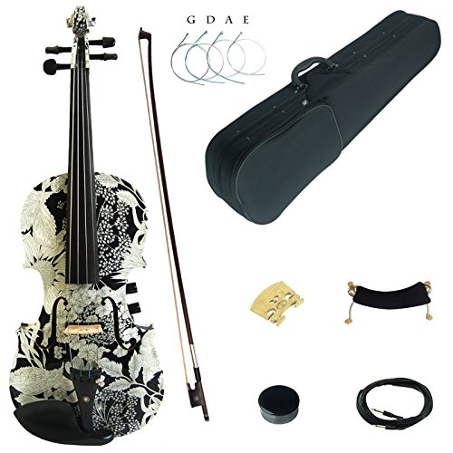Kinglos 4/4 White Sunflower Colored Solid Wood Acoustic / Electric Violin Kit