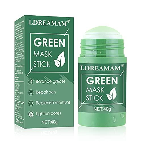 Green Mask Stick,Masque solide vert,Green Tea Cleansing Mask,Contrôle de l'huile Anti-acné Solide Stick,élimine efficacement points noirs l'acné,riche en extrait de thé vert