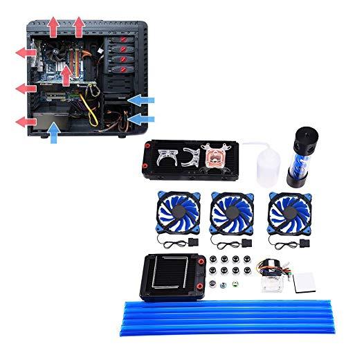 DIY PC waterkoelset, CPU vloeistofkoelsystemen incl. 240/120 mm radiator, 3 LED-ventilatoren, CPU-koeler, expansievat, stille pomp, 6 harde buizen, alles in één waterkoelset