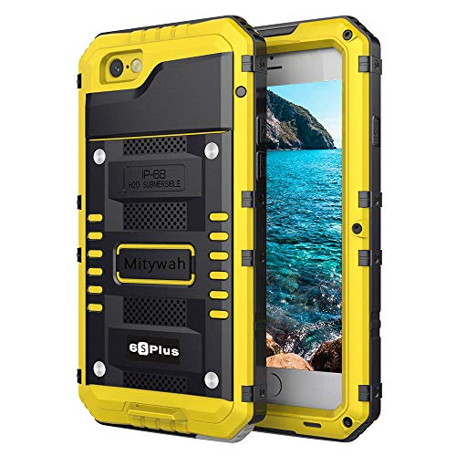 Mitywah Waterproof Case for iPhone 6 Plus, iPhone 6s Plus Heavy Duty Military Armor Metal Case, Complete Protective Strong Shockproof Dustproof Rugged Thick Case for iPhone 6 Plus/ 6s Plus, Yellow