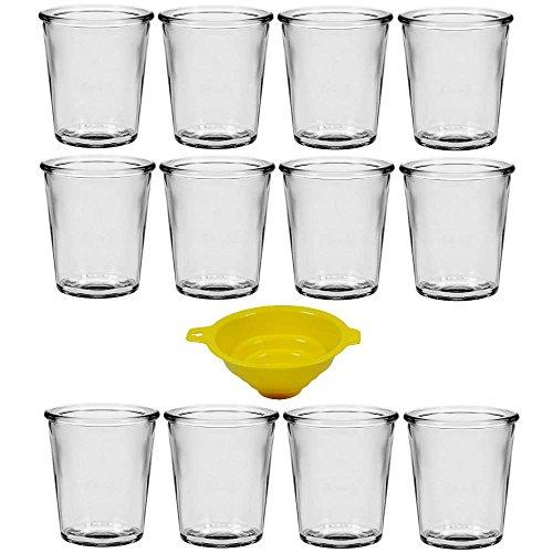 Viva Haushaltswaren - 12 x kleines Dessertglas 65 ml, Mini Glasgefäße für Desserts, Vorspeisen, als Teelichthalter geeignet (inkl. Trichter Ø 5 cm)
