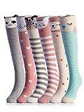 NFACE Calcetines hasta la rodilla de algodón animal de dibujos animados para niños, 6 colores, talla única