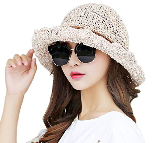 Yangjing Sombrero de verano al aire libre aislamiento térmico sombrero de paja hecho a mano Sombrero de verano de vacaciones sombrero de playa sombrero rosa claro, rosa claro, 56-58cm