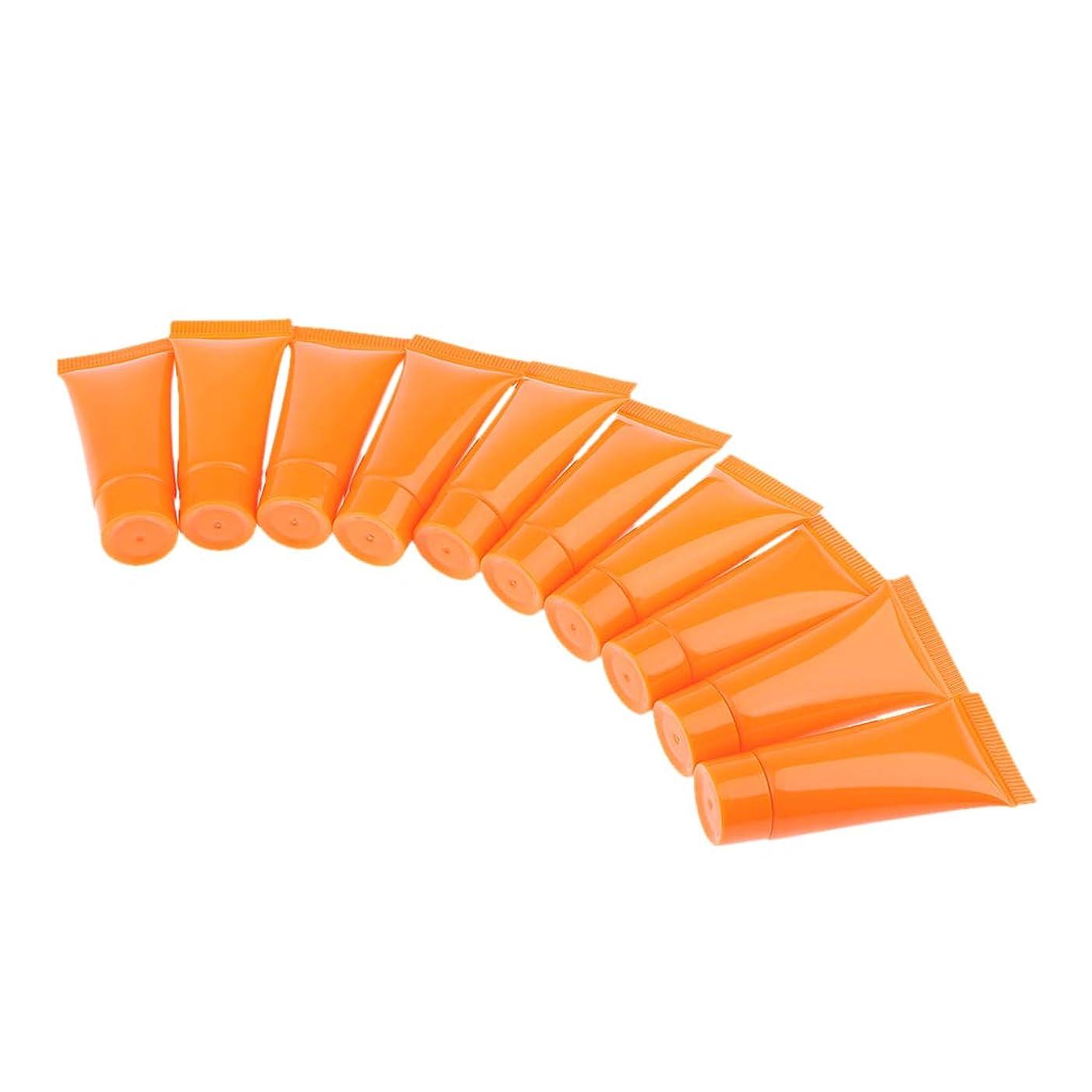 週間ロビー平凡B Blesiya 10個 メイクアップ 化粧品チューブ ローション クリーム  再利用可 エコ 3色選べ - オレンジ