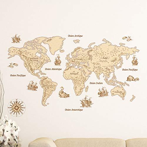Stickers wereldkaart | wanddecoratie slaapkamer en woonkamer 60x100cm Model 1
