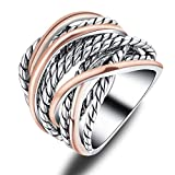 Mytys Silver Rose Gold Crossover Wide Wedding Band 2 Tone Rope Intertwined Statement Ring Size:7