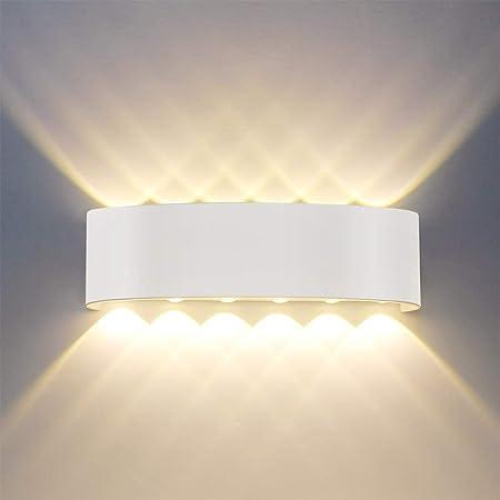 Applique Murale Moderne IP65 Imperméable à l'eau 12W LED Appliques Murales aluminium Lampe Murale Interieur pour le salon chambre Hall Escalier Pathway (12W)