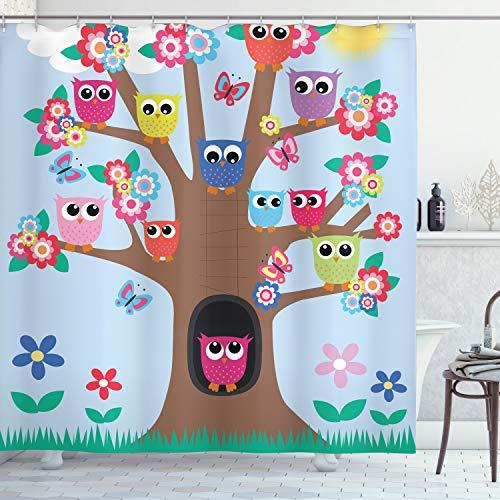 ABAKUHAUS Eule Duschvorhang, Cartoon-Baum mit Tieren, Leicht zu pflegener Stoff mit 12 Haken Wasserdicht Farbfest Bakterie Resistent, 175 x 200 cm, Multicolor