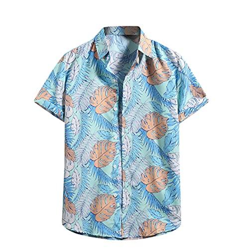 Camisa hawaiana para hombre, de verano, informal, con flores, manga corta, corte ajustado. J _ Azul XXL