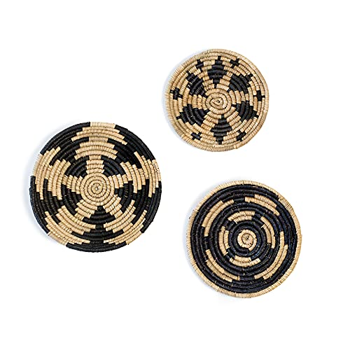Hanging Woven Wall Decor, Set of 3, Boho Circular Flat Decorative Baskets - Natural Seagrass Bowls for Living Room, Bedroom, Unique Wall Art or Accents for Any Part of Your Home - Handwoven (Black)