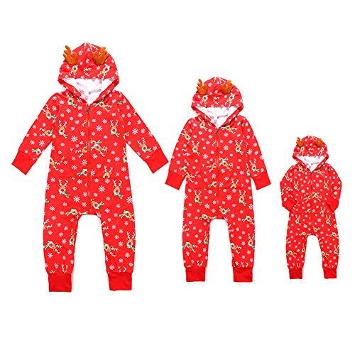 WTDlove Impresión de Pack familiar de Navidad año nuevo vestido con capucha familia de pijamas de elk casa desgaste de dibujos animados Vestido