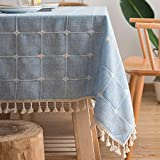 ZJCUNEUR Manteles Estilo de Japón algodón Mantel de Lino Rayas Rosadas Tela...