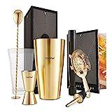 VonShef Boston Cocktail Shaker Kit in Geschenkbox mit Zubehör aus Glas, Messbecher und Sieb, Edelstahl, Gold, 2