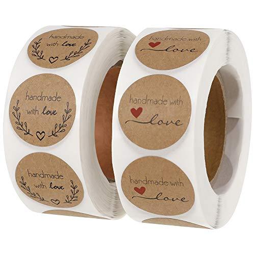 Firtink 1000 Stücke Selbstgemacht mit Liebe Aufkleber Label Handgemachte Aufkleber Label für Backen Geschenktüten Hochzeit