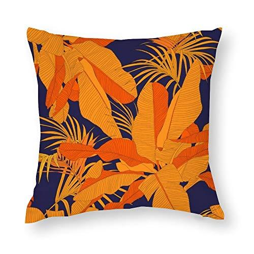 YY-one Fundas de almohada decorativas de algodón con diseño de hojas de palmera rojas, color azul marino, sin costuras, para sofá, silla, cuadrado, 50,8 x 50,8 cm