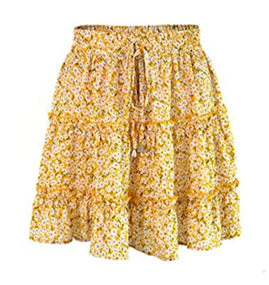 Gogoboi Women Chiffon Floral Printed Pleated Mini Skirts for Summer