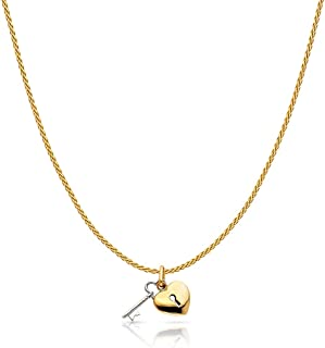 14K Two Tone Gold Key to Heart Keyhole Charm Pendant with 0.9mm Wheat Chain Necklace