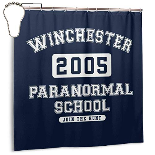 NBHJU Cortina de Ducha Impermeable de Tela de poliéster Winchester Paranormal School Varsity Text Print Cortina de baño Decorativa con Ganchos, 72 '' X 72