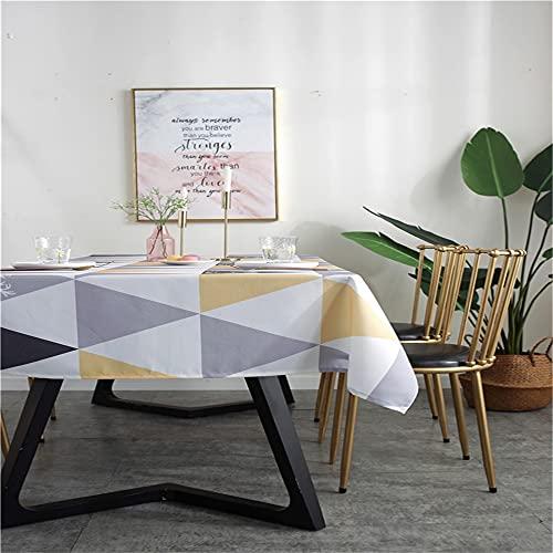 Kuao - Mantel rectangular impermeable, triángulo, impresión de mesa baja, mesa de café, mesa de boda, fiesta, decoración de exterior, triángulo amarillo, 135 x 180 cm