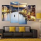 vbewuvbiewv 4 Paneles de Pintura de la Ciudad Moderna Cuadros de decoración Impresos Pinturas de paisajes nocturnos de Venecia Cuadros de Lienzo para Sala de Estar 30x60cm 30x80cm sin Marco