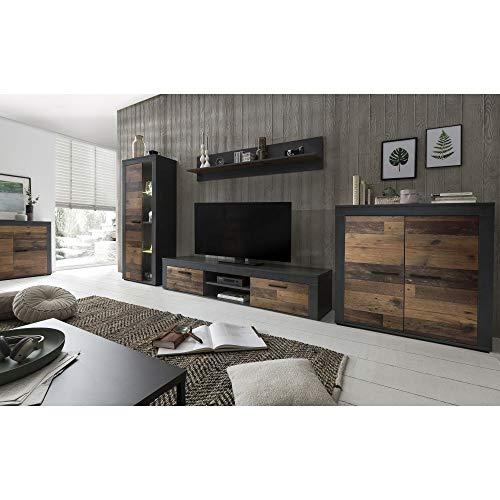 roominado Wohnwand Anbauwand Schrankwand Wohnzimmerschrank Aosta Graphit/Old Wood NEU/OVP