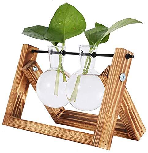Vandove Hydroponik Vase, Hängevase Pflanzenvase Glasvase Planter Bulb Vase, Blumenvase Tischvase Dekovase Deko Holz Halte, für Home Garden Office Dekoration (2 Vasen)