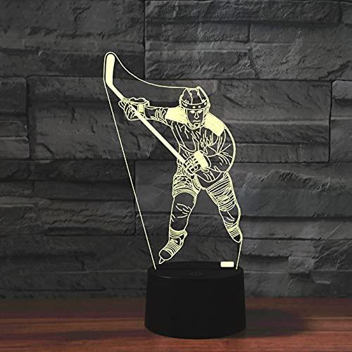Yyhmkb Buio Illuminazione Per Esterno Stella Comodino Camera Da Lettostile Hockey Su Ghiaccio Colorato 3D Creativo Touch Telecomando Lampada Da Tavolo A Risparmio Energetico Led Luce Notturna