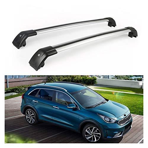 XIAOZHIWEN Barras transversales de automóviles Cross Barras con Llave Techo Tapa Tapa Tapa Luggage Transportista Kits para Kia Niro 2017-2020 (Color : Silver)