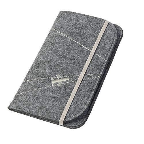 Reisepasshülle/Travel Wallet \'Flugzeug\' aus Filz (grau, Farbe wählbar) | Ausweistasche für Reise Dokumente wie Reisepass, Tickets, Wertsachen