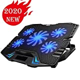 KEROLFFU Gaming Laptop Cooler 12-15.6inch 5-Fans 2500RPM Strong Wind,Dual USB 2.0 Ports, Adjustable Mount Stand